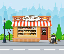 Bakery Shop Front Veiw Flat Icon.