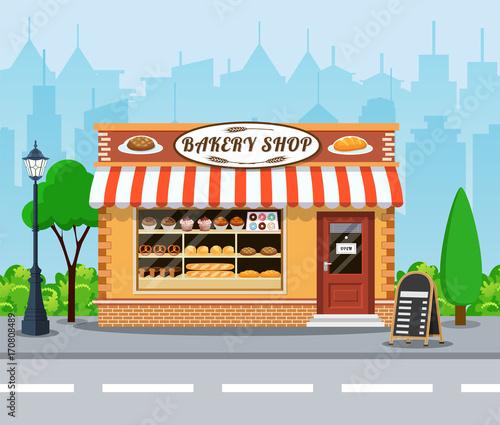 Fotografía Bakery shop front veiw flat icon.
