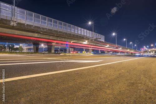 Fototapeta traffic light trails at night in Shanghai, China. obraz na płótnie