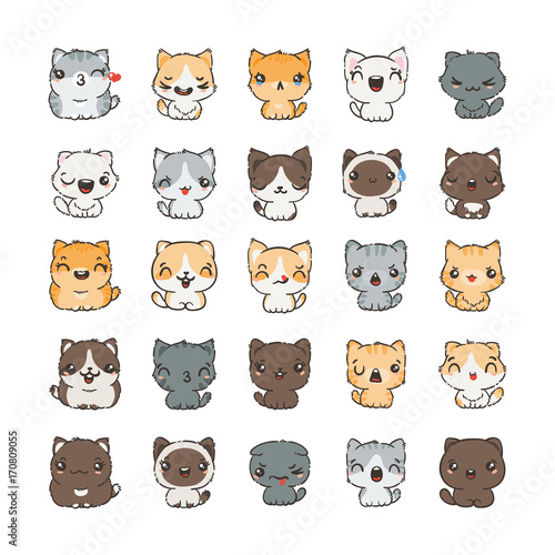 Photo  Cute cartoon cats and dogs with different emotions
