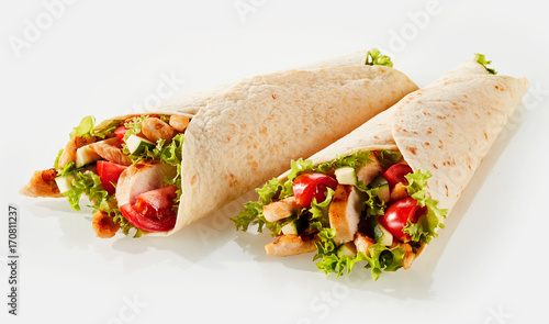 Two tortilla wraps with filling Canvas Print