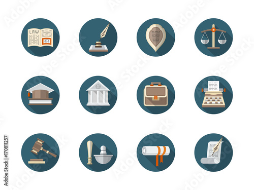 Law firm flat round vector icons set Wallpaper Mural