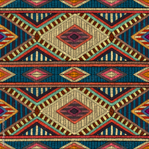 Photo sur Aluminium Style Boho Embroidered seamless geometric pattern. Ornament for the carpet. Ethnic and tribal motifs. Colorful print of handmade. Vector illustration.