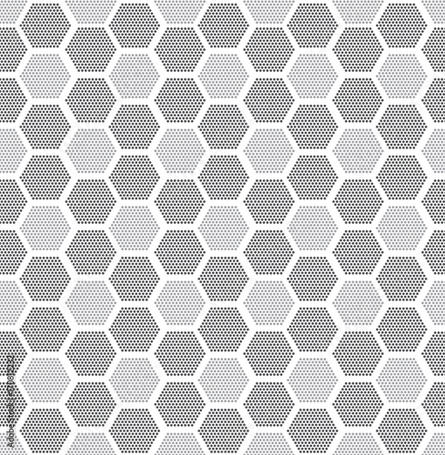 Staande foto Grafische Prints Modern stylish texture. Repeating geometric tiles with filled with dotted hexagons. Regular hipster background. Small circles form hexagonal minimalistic ornament.Vector