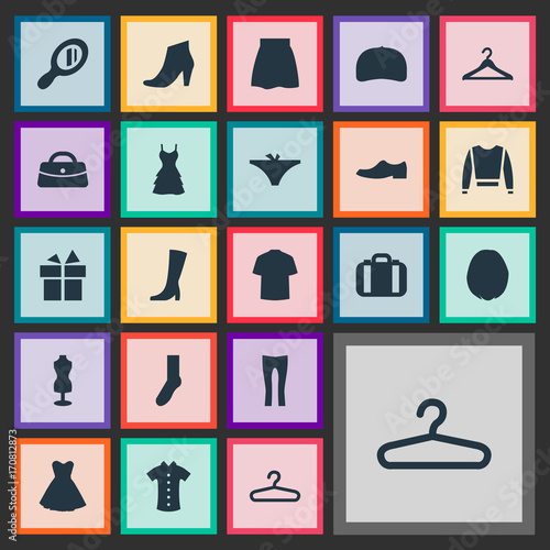 Vector Illustration Set Of Simple Dress Icons Elements Present