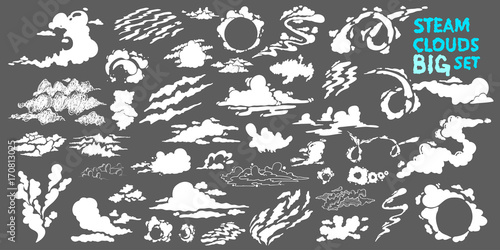 Foto op Plexiglas Rook Steam clouds Big set. Fog flat isolated clipart for advertising posters, effects and design. Cartoon white smoke. Vector illustration. Isolated on grey background