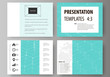 Set of business templates for presentation slides. Abstract vector layouts in flat design. Chemistry pattern, hexagonal molecule structure. Medicine, science and technology concept.