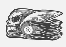 Mad Skull With Wings And Wheel And Tongues Of Flame. Biker Symbol.