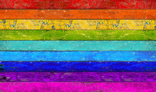 Colorful Vibrant Panorama Rainbow Wooden Planks Background Texture Pattern / Holz Panorama Hintergrund Bunt Regenbogen Farbenfroh Vorlage Textur