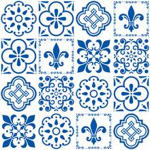 Portuguese Vector Tiles Pattern, Lisbon Seamless Indigo Blue Tile Design, Azulejos Vintage Geometric Ceramics