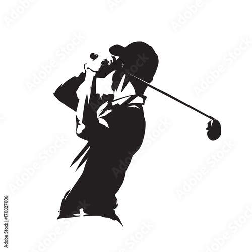 Golf player icon, golfer abstract vector silhouette Fototapete