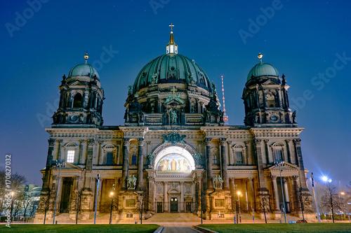 Zdjęcie XXL Berlin Katedra lub Berliner Dom w nocy, Berlin, Niemcy