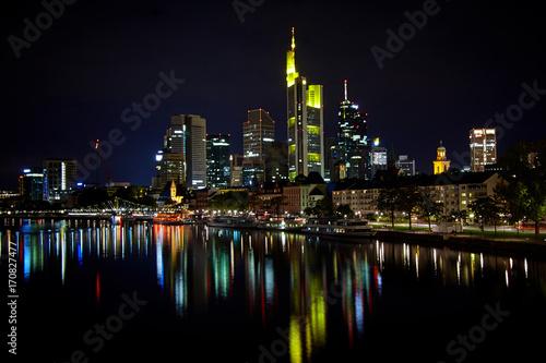 Poster Frankfurt am Main at night, Germany