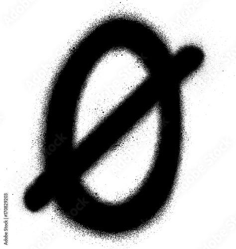 Acrylic Prints Graffiti sprayed Scandinavian vowel font graffiti in black over white
