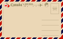 Vintage Postcard With Map Of Canada