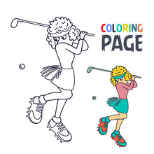 Coloring Page With Woman Golf ...