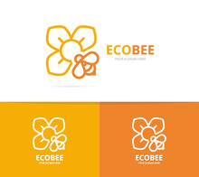Vector Of Flower And Bee Logo ...