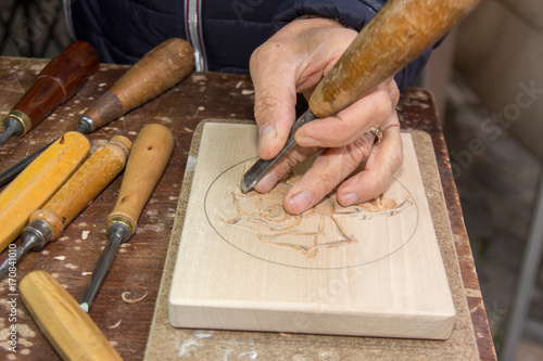 Fotografie, Tablou incisione su legno
