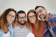 canvas print picture - Portrait of young adults with eyeglasses, isolated