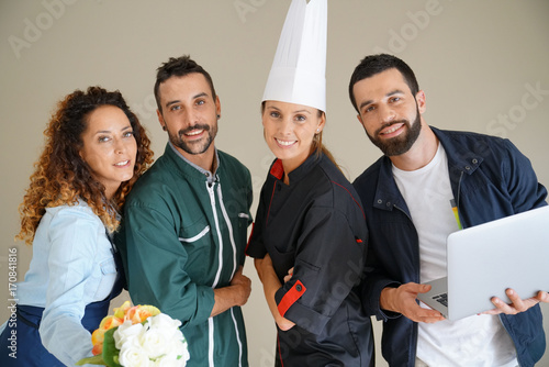 Photo  Young adults with different occupations