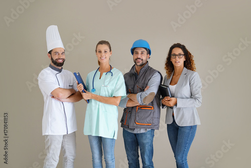 Young adults with different occupations Wallpaper Mural
