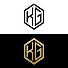 Initial Letters Logo Kg Black And Gold Monogram Hexagon Shape Vector