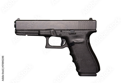 Fotografia Automatic 9mm handgun pistol isolated on a white background