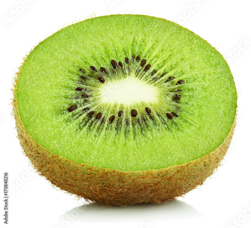 Front view of half kiwi fruit isolated on white background