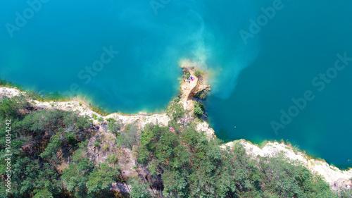 Montage in der Fensternische Olivgrun Aerial landscape of mediterranean sea