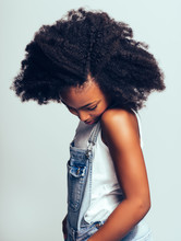Shy Young African Girl Standin...