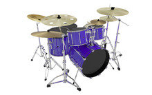 Isolated Blue Drums Set Perspective View 2