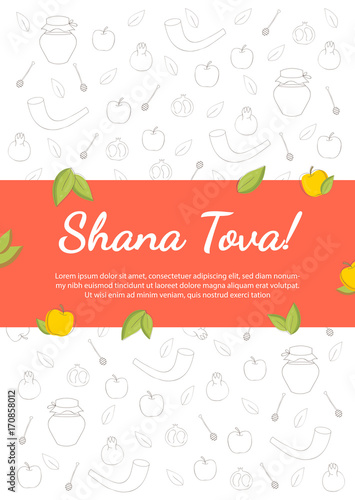 jewish new year celebration vector illustration rosh hashanah jewish new year holiday banner