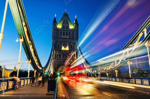 Car traffic at Tower bridge at night in London, UK Canvas Print