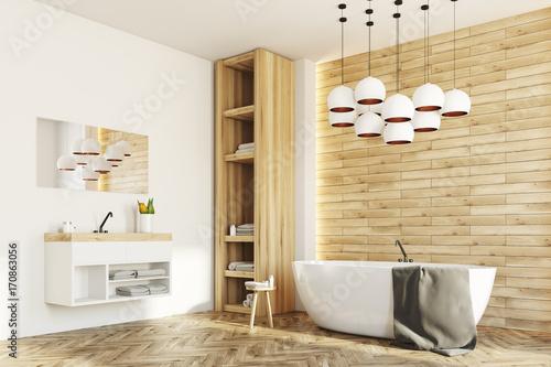 Plakat Biała i drewniana łazienka, strona