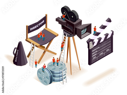 Fotografie, Obraz  Isometric Cinema Elements Concept