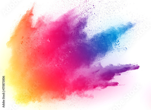 abstract multicolored powder splatted on white background,Freeze motion of color Poster