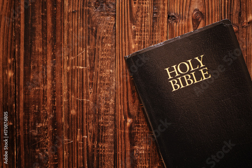 Holy Bible on wood in natural light