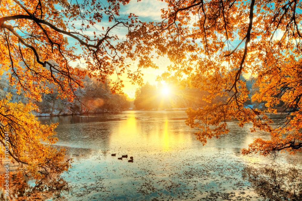Fototapety, obrazy: Piękne barwy jesieni, wschód słońca nad jeziorem