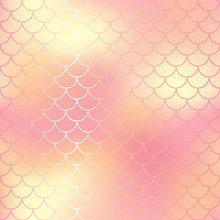Pastel Pink And Gold Abstract Fish Skin Background. Fantastic Fish Scale Pattern.