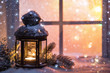 canvas print picture Winter decoration with a candlestick near the snow-covered window