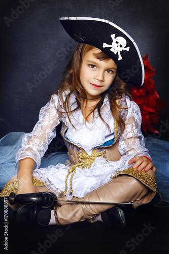 Fotografie, Obraz  Little girl in pirate costume. Halloween Concept