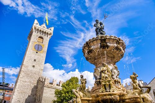 Fontana del Nettuno (Neptune fountain) in Trento and the Torre Civica or Torre d Canvas Print