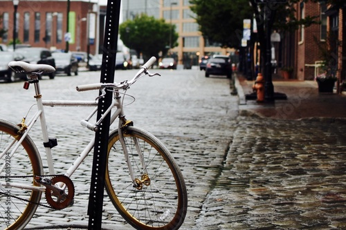 Photo  bicycle in raining day
