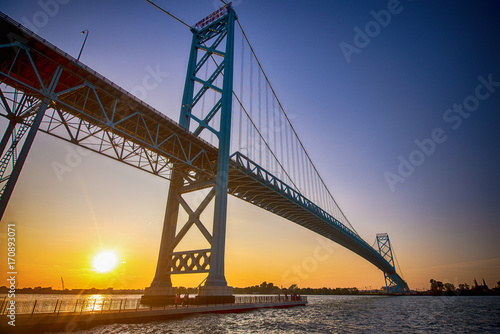 Staande foto Brug View of Ambassador Bridge connecting Windsor, Ontario to Detroit Michigan