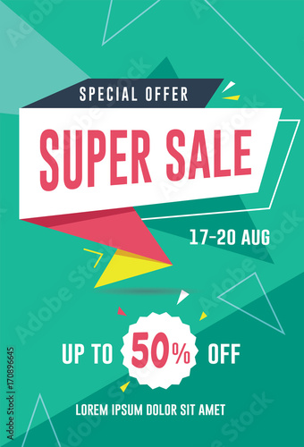 super sale banner flyer template vector illustration for social