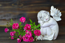 Sleeping Angel And Roses On Wooden Background