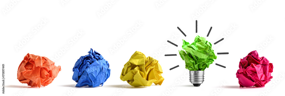 Fototapety, obrazy: New idea concept. Colorful office paper balls and sketch of light bulb