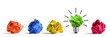 New idea concept. Colorful office paper balls and sketch of light bulb