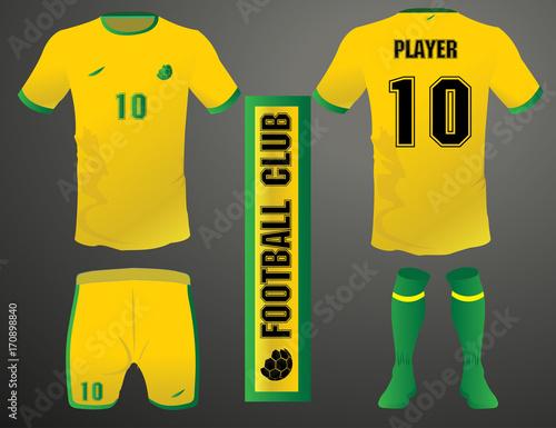 97dbc84cc Vector Illustration. By bobbyadvice. Set of soccer kit or football jersey  template for football club. Yellow football shirt mock