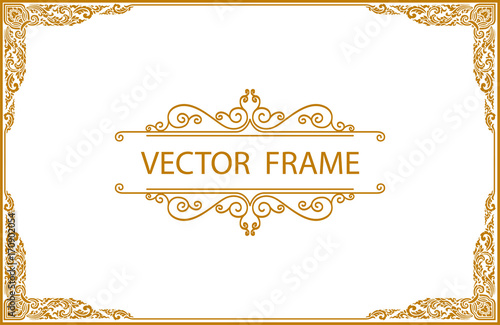 Valokuva  Gold border design, frame photo template, certificate template with luxury and m